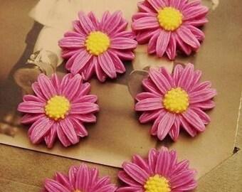 6PCS Mini Sunflower Cabochon Raspberry A-4