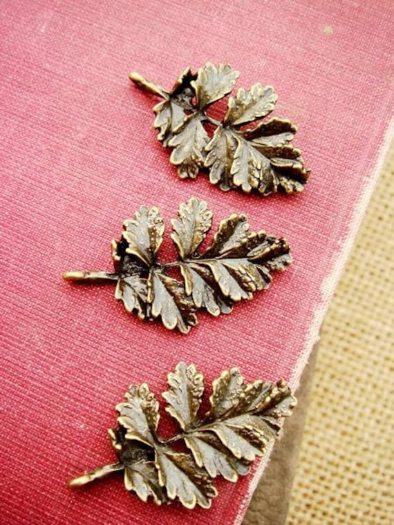 H0304-2 6PCS Antique Bronzed  Autumn leaves Charms Pendant Finding with one loop