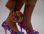 Custom Made High Heels, Rhinestons and Crystals and Glitter