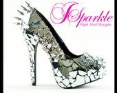 Mirror Glass Custom High Heel Pump with Spikes