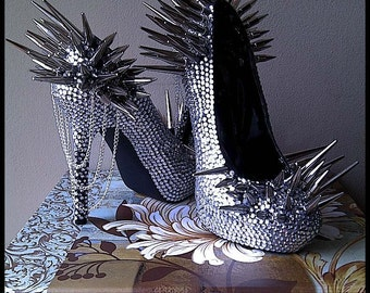 Matrix Collection Part 2 Custom High Heel PUMPS with Clear Crystals and SPIKES