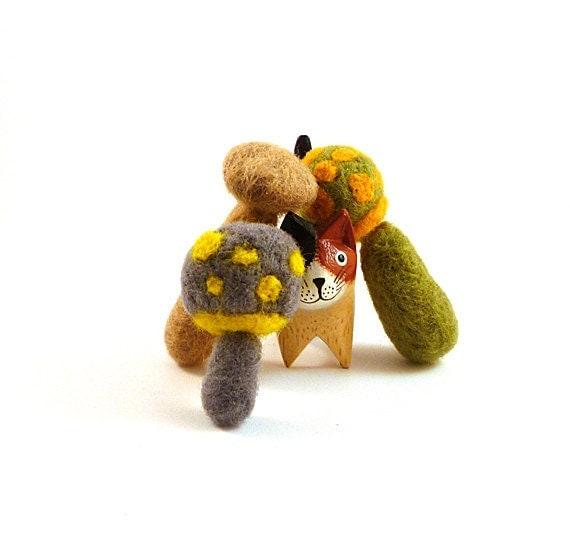 Felted Woodland Mushroom Trio Cat Toys