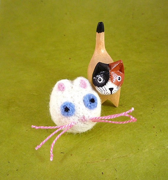 White Persian Cat Catnip Cat Toy - Needle Felted Wool