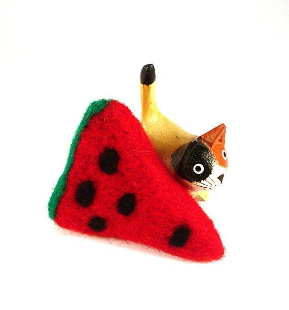 Watermelon Catnip Cat Toy - Needle Felted Wool