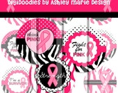 Breast Cancer Awareness Hot Pink Black Zebra Polka Dots Set - Strength Faith Hope - Digital Bottle Cap Images  for jewelry and hair bows