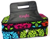 Personalized With Embroidery Multi Color Damask Print Double Compartment Casserole Carrier