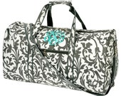 6 Personalized With Embroidery Large Grey and White Damask Duffle Bags For Bridesmaids Gifts