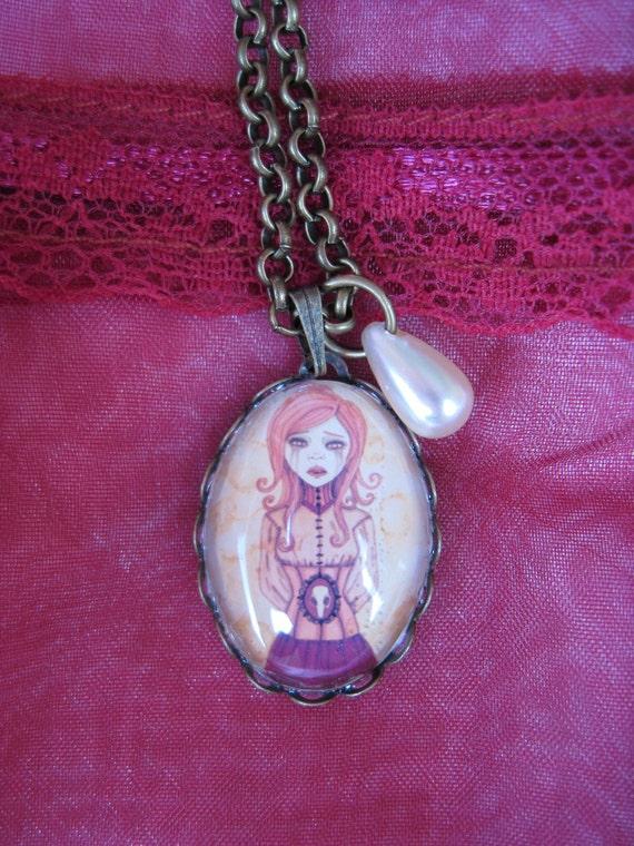 Victorian Rose Necklace Cameo Pendant