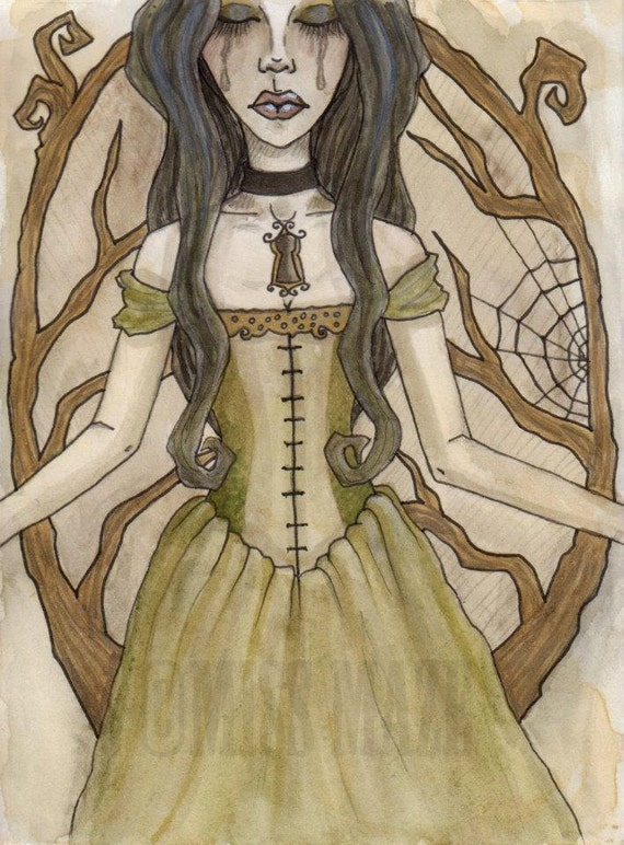 Locked Within Me A6 ORIGINAL Painting - Dark Fantasy Art