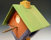 HALF PRICE SALE. Birdhouse lamp. Night light. Rustic. Folk art. Green, yellow, purple and red. Natural log base. Paper lace windows. 135