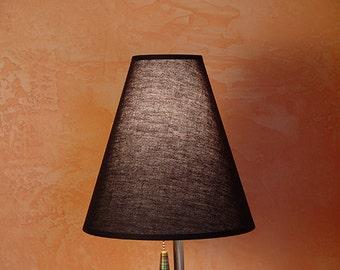 Translucent linen fabric  hardback cone shade for High Desert Dreams lamps. BLACK