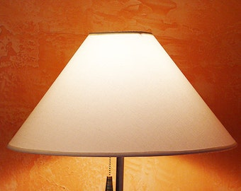 Large Empire-Collie style lamp shade. Translucent linen fabric. WHITE.