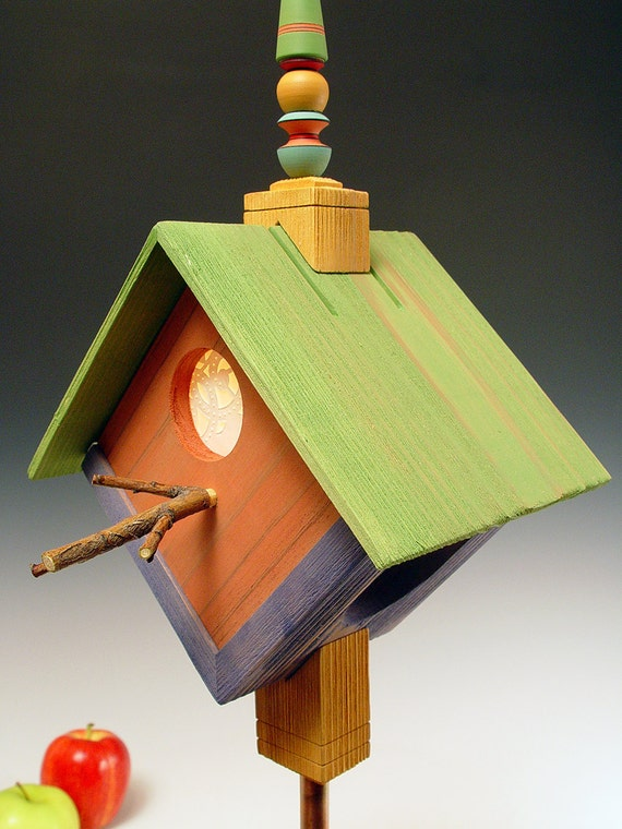 half price sale birdhouse lamp night light rustic folk art green. Black Bedroom Furniture Sets. Home Design Ideas