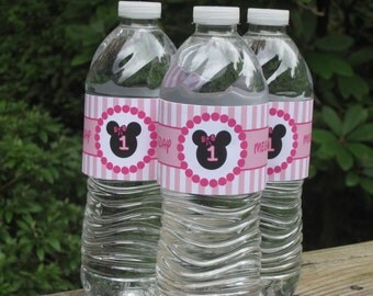 Minnie Mouse Water Bottle Labels, Drink Labels, Bottle Labels, Girl Birthday Labels