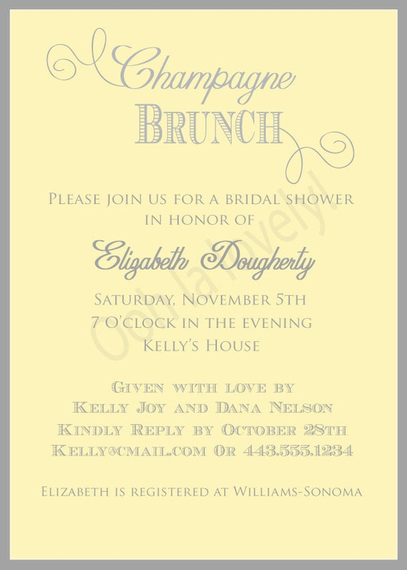 Items similar to printable yellow and grey champagne for Champagne brunch bridal shower