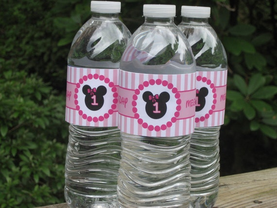 Minnie Mouse Water Bottle Labels, Drink Labels