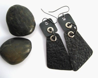 Stylish Metal Earrings. Copper, black, long, hammered, oxidized. Light weighted.