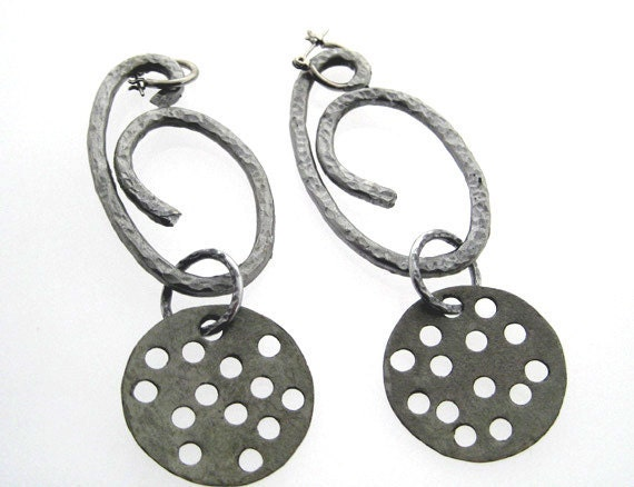Earrings. Very Long Metal Stylish Aluminum Lightweighted By Brand Faina.  Reserved for Brenda.
