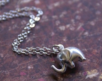 Silver Elephant Necklace 3D Charm-STERLING SILVER- Meaningful, Lucky Jewelry 'Good Luck' by RevelleRoseJewelry