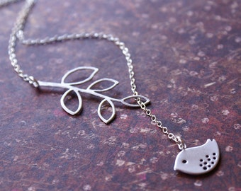 Leaf Bird Necklace-Silver Bird Jewelry-STERLING SILVER Chain, Bird Leaf LARIAT, Everyday Wear Gorgeous Gift for Friend, Sister, Mother