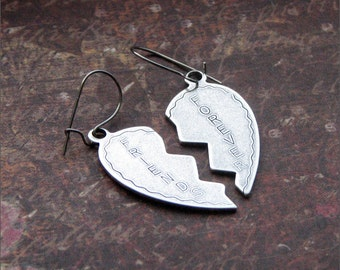 Friendship Charm Earrings Silver Dangle PERFECT Besties, Friend, Sister Gift 'FRIENDS FOREVER' by RevelleRoseJewelry