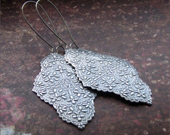 Silver Dangle Earrings -Sterling Silver Ox Finish- Gorgeous Ornate Detailed Pendant Jewelry- Chic, Pretty Friend, Wife, Mother, SIster Gift