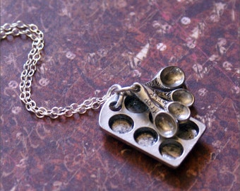 Baking Charm Necklace, Silver Baker's Jewelry, Sterling Silver Chain, SWEETEST Tiny Muffin Tin/Measuring Spoons PERFECT MOTHER'S Necklace