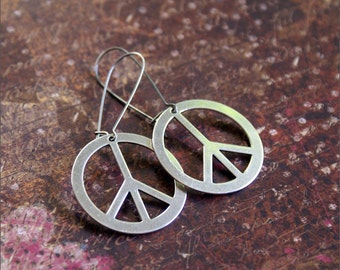 PEACE SIGN EARRINGS -Hippie Bohemian- Dangle Large Pendant Anti War 'Peace Out' by RevelleRoseJewelry