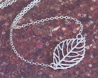 SIDEWAYS LEAF Necklace -STERLING Silver Chain- Delicate, Feminine Jewelry Pretty Friend, Mother, Grandmother Gift by RevelleRoseJewelry