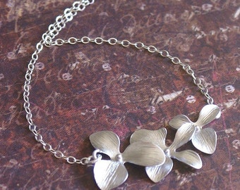 ORCHIDS Flower Necklace -STERLING SILVER Chain- Meaningful Mother, Wife, Grandma Gift 'Delicate Beauty' by RevelleRoseJewelry