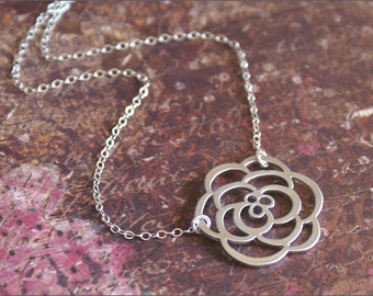 Rose Flower Necklace Silver Pendant -STERLING SILVER- Chain- PERFECT Wife, Mother, Girlfriend, Love Gift  'Petals' by RevelleRoseJewelry