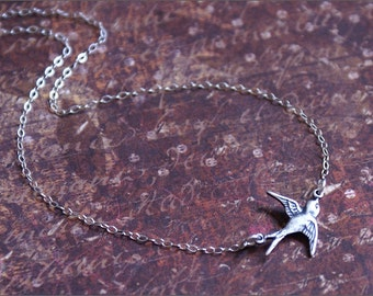 Silver Bird Necklace -Solo Flying- East Bird Charm on STERLING SILVER Chain Antiqued Vintage Style 'FREEDOM' by RevelleRoseJewelry