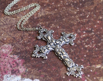 Silver Cross Choker-Large Cross Necklace, Silver Cross Jewelry, Religious Jewelry, Cross Layer Necklace, Detailed Floral Cross Pendant, Gift