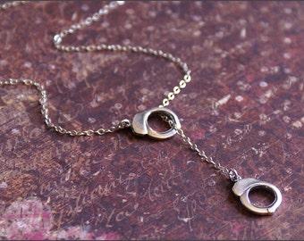 Silver Handcuff Necklace, Y Lariat Necklace, Sterling Silver Lariat Jewelry, FLIRTY UNIQUE Y Necklace, Statement Piece, Silver Drop Piece