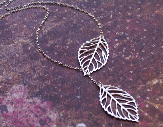 SALE- Leaf Necklace -STERLING SILVER Chain- Lariat Style- Perfect Wife, Mother, Sister Gift Falling For You by RevelleRoseJewelry