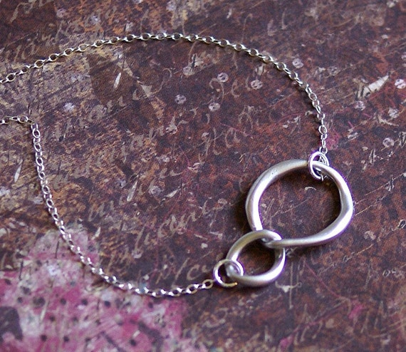 Two Circle Necklace STERLING SILVER Chain Interlocking Circles- Friendship, Mother Daughter, Couple ETERNITY by RevelleRoseJewelry