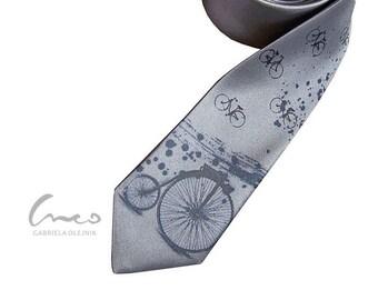 Retro vintage bicycle grey tie. Print on narrow necktie - present for men