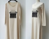 LAST ONE Typewriter - Long Sleeves Midi Dress in Nude Color / S-M