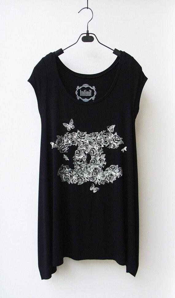 CC Roses - Women Asymmetric Long Top/ T-shirt in BLACK