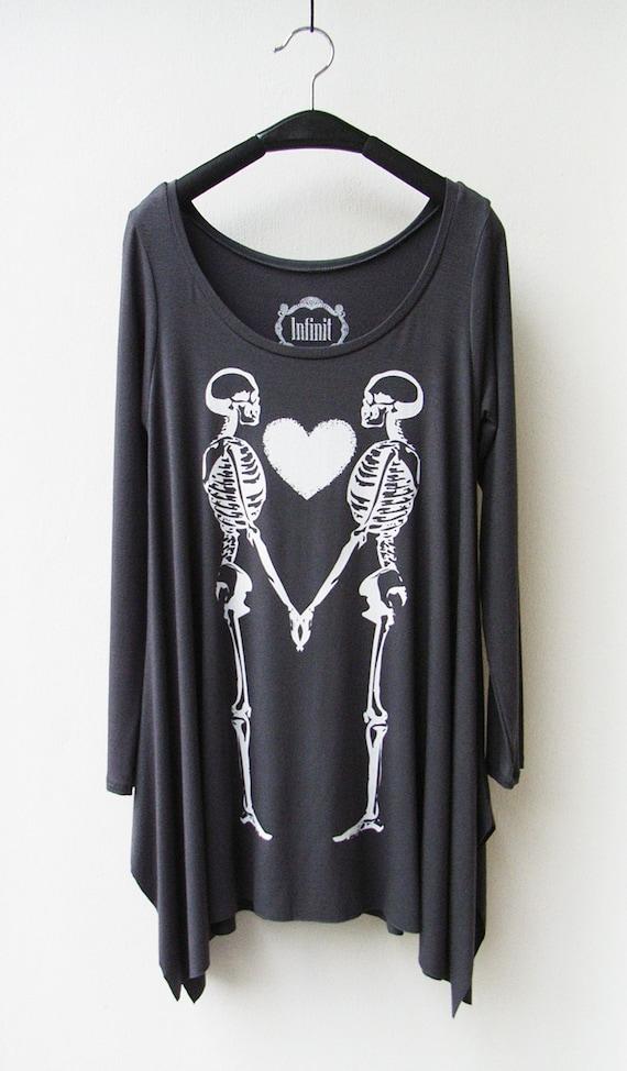 Couple Skeleton - Women Asymmetric Long Top/ Tunic Long Sleeves in Dark Grey