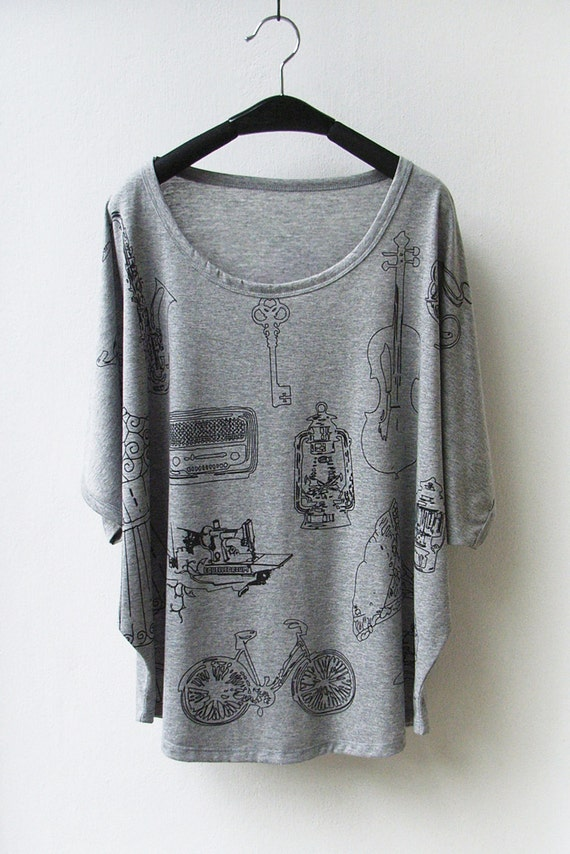 LAST ONE - Vintage Objects Women Tank Top Oversize Shirt Batwing in GREY