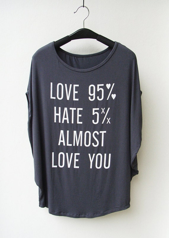 Love 95% - Women Tank Top Oversize Shirt Batwing in Dark Grey