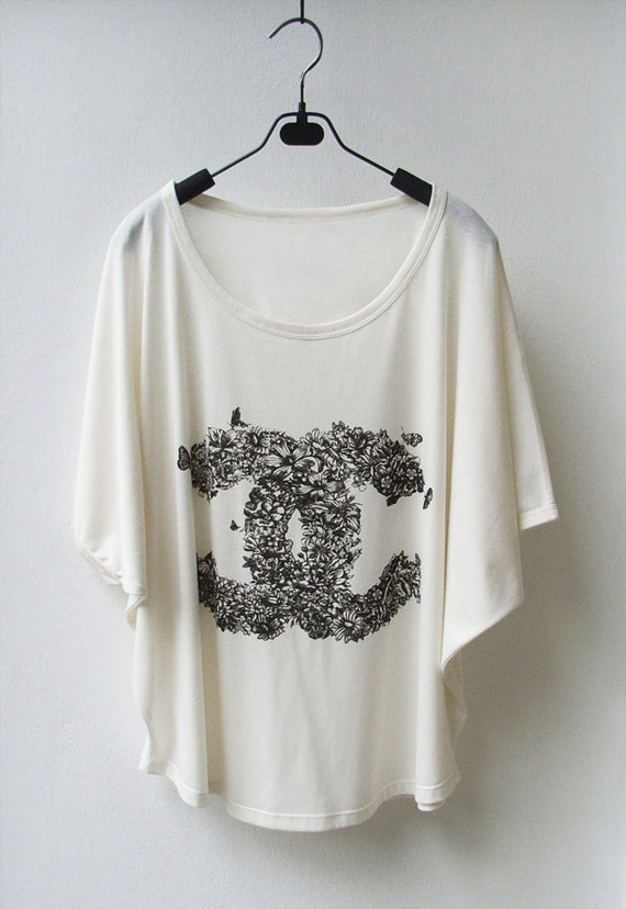 SALE - CC Floral Chanel Inspired - Women Tank Top Oversize Shirt Batwing in Cream