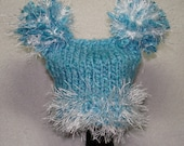 Hand Knit Baby Boy  Newborn Pom Pom Hat Cap blue and white ready to ship