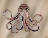 """Handmade Stained Glass Octopus Suncatcher - """"The Kraken"""""""