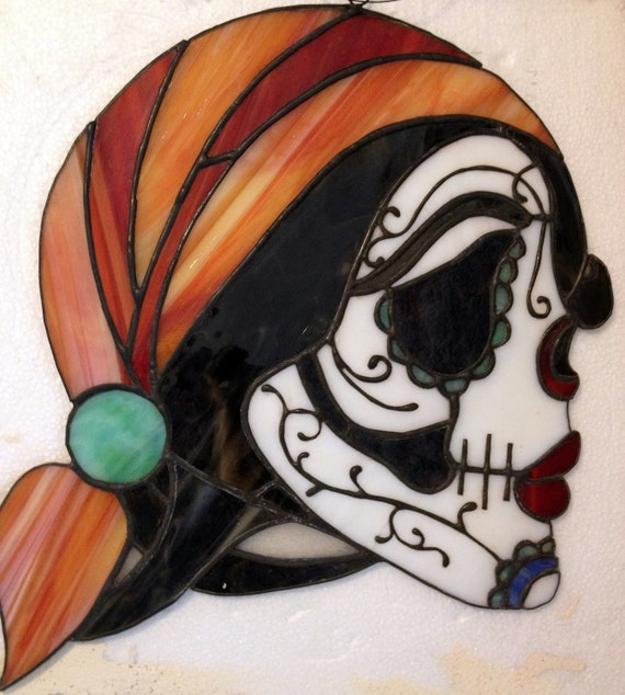 Stained Glass Day of the Dead, Sugar Skull Suncatcher - Unique Gift