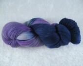 Hand Dyed Merino Wool Yarn - Lace Weight - Purple/Blue