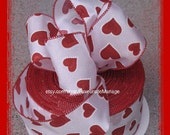 """3 yards 2-1/2"""" Red Hearts Wired Satin Ribbon"""