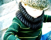Children's Hand knitted cowl/scarf - Color shown is Brown