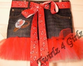Patriotic Cowgirl - Tutu Skirt with embroidered cowboy hat with stars and stripes on crown, lariat and gloves and red bandana print  ribbon